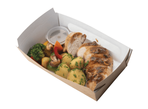 Grilled Chicken with Boiled Vegetables and Mushroom Pepper Sauce